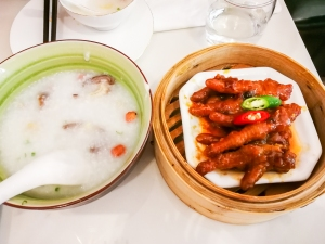 """Little boat"" congee and steamed chicken feet"